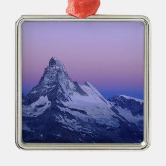 Matterhorn at dawn, Zermatt, Swiss Alps, Silver-Colored Square Decoration