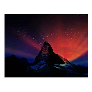 Matterhorn colorful sky scenery postcard
