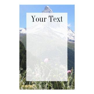 Matterhorn mountain in spring writing paper