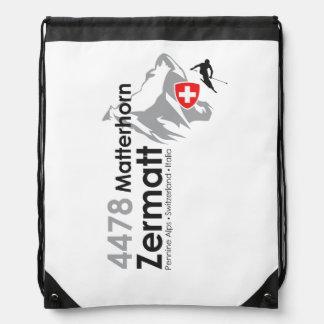 Matterhorn-Zermatt skiing Drawstring Bag