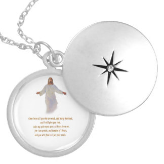 Matthew 11:28 gifts round locket necklace