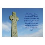 Matthew 16:24 celtic cross poster