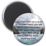 Matthew 17:20  Motivational Bible Quote 6 Cm Round Magnet