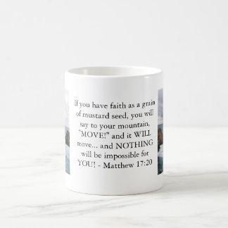 Matthew 17:20  Motivational Bible Quote Coffee Mug