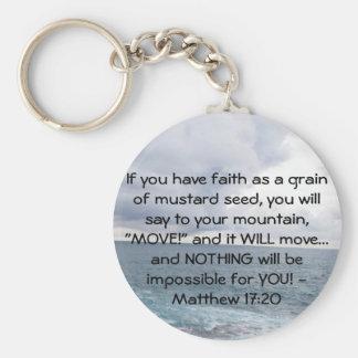 Matthew 17:20  Motivational Bible Quote Key Ring