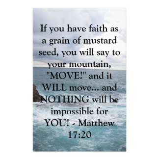 Matthew 17:20  Motivational Bible Quote Stationery