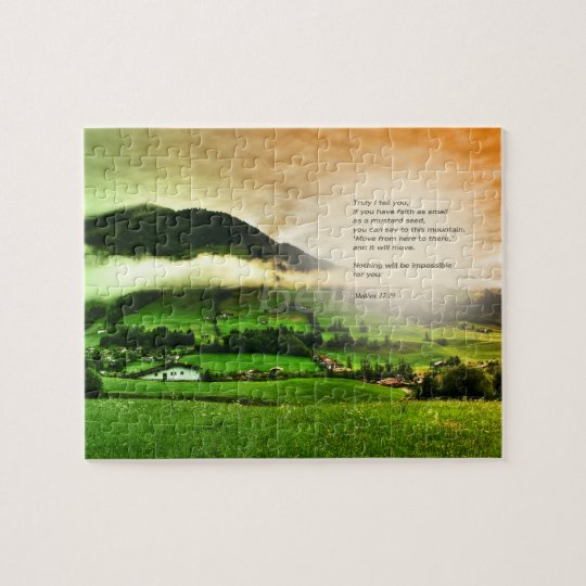 Matthew 17:20 Move mountains bible verse sunset Jigsaw