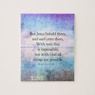 Matthew 19:26 Inspirational Bible Verse with art Puzzle