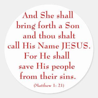 Matthew 1: 21 classic round sticker