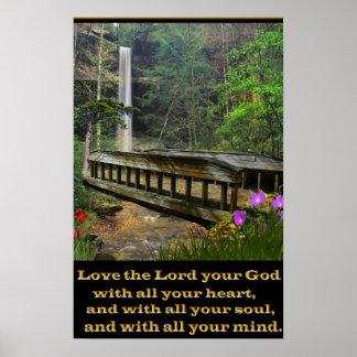Matthew 22:37 christian art bridge posters