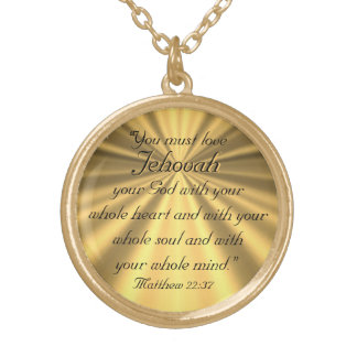 Matthew 22:37 gold plated necklace