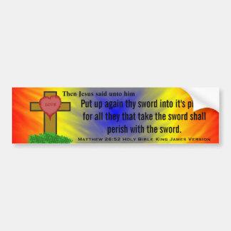 Matthew 26:52 King James Version Bible Scripture Bumper Stickers