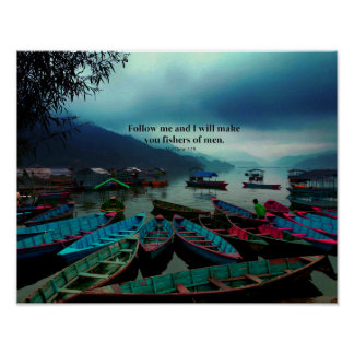 Matthew 4.19 Christian Art Bible Verse boats Poster