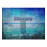 Matthew 4:19 Fishers of Men Bible Verse Poster