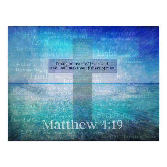 Matthew 4:19 Inspirational Bible Verse Postcard