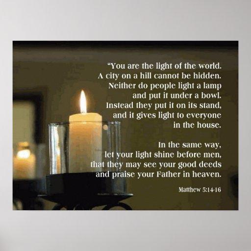 Matthew 5 14 16 Light Of The World Poster Zazzle Co Uk