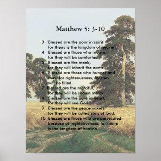 Matthew 5 3-10 Jesus sermon Poster