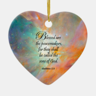 Matthew 5:9 ceramic heart decoration