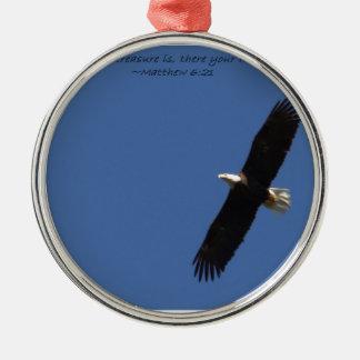 Matthew 621 Eagle w frame.jpg Silver-Colored Round Decoration