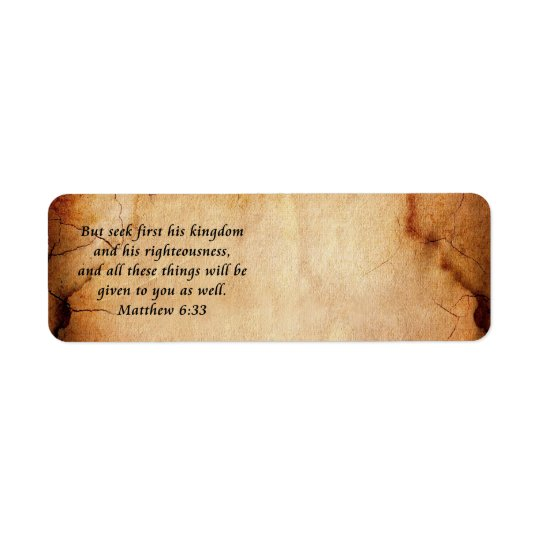 Matthew 6:33 address label