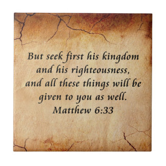 Matthew 6:33 Bible Verse Small Square Tile