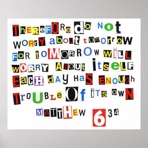 Matthew 6:34 Ransom Note Poster