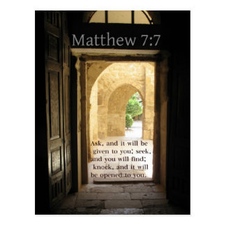 Matthew 7:7 Beautiful Bible Verse Postcard