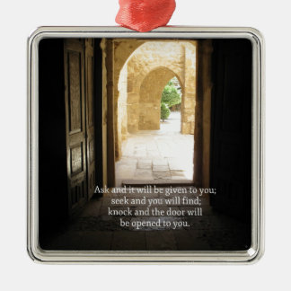 Matthew 7:7 Inspirational Bible Verse Silver-Colored Square Decoration