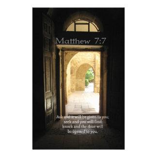 Matthew 7:7 Inspirational Bible Verse Custom Stationery