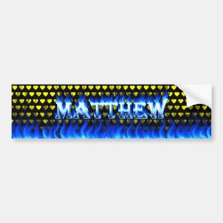 Matthew blue fire and flames bumper sticker design car bumper sticker
