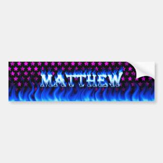Matthew blue fire and flames bumper sticker design