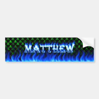 Matthew blue fire and flames bumper sticker design
