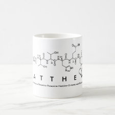 Mug featuring the name Matthew spelled out in the single letter amino acid code