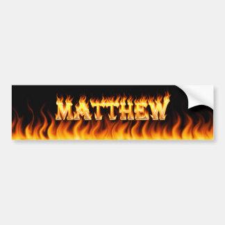 Matthew real fire and flames bumper sticker design car bumper sticker