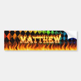 Matthew real fire and flames bumper sticker design