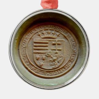 Matthias Corvinus seal budapest museum hungary wax Silver-Colored Round Decoration