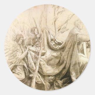 Matthias Grünewald: Kneeling King with Two Angels Round Stickers