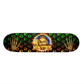 Mattie skull real fire and flames skateboard desig
