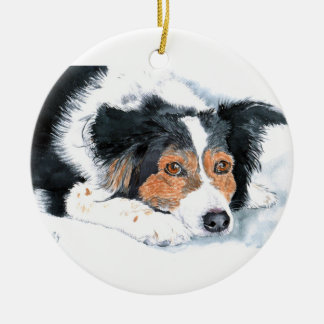 Mattie the Border Collie Christmas Ornament