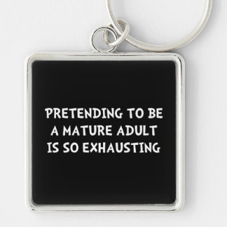 Mature Adult Silver-Colored Square Key Ring