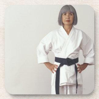Mature female karate blackbelt, portrait beverage coaster