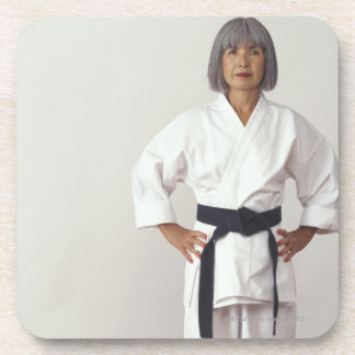 Mature female karate blackbelt, portrait coaster