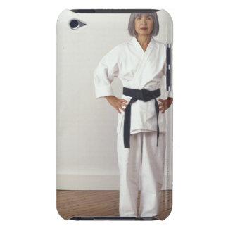 Mature female karate blackbelt, portrait iPod touch cover