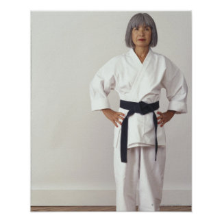 Mature female karate blackbelt, portrait poster