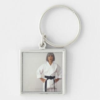 Mature female karate blackbelt, portrait Silver-Colored square key ring