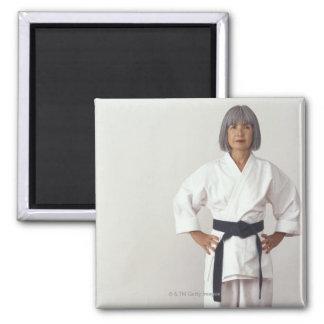 Mature female karate blackbelt, portrait square magnet