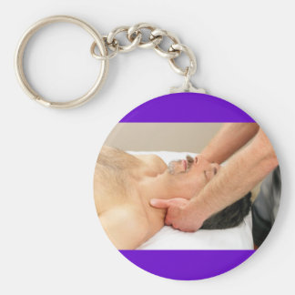 Mature Man Getting a Neck Massage Basic Round Button Key Ring