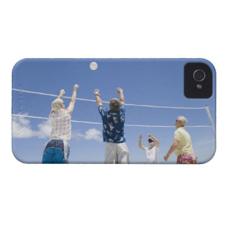 Mature men leaping for volley ball on beach, Case-Mate iPhone 4 cases