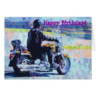 Mature Motorbike Biker Birthday Card