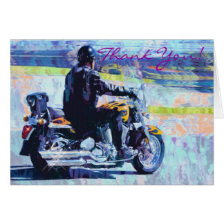 """Mature"" Motorbike Biker Thank You Card"